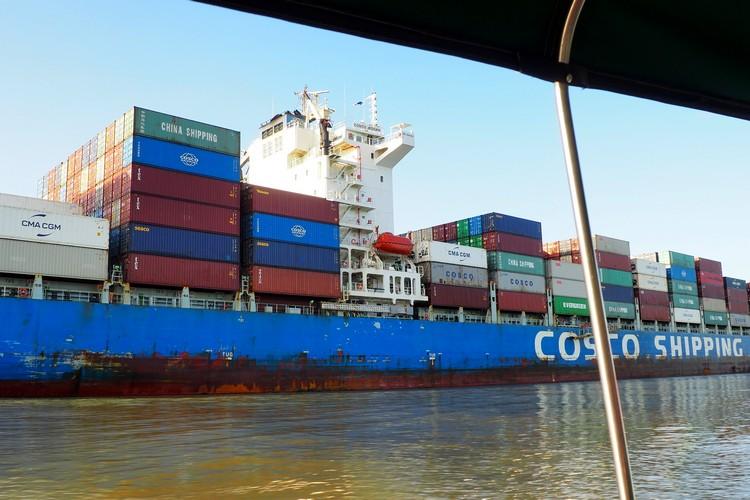 large ship on Panama Canal on Monkey Island Panama Tour