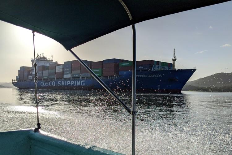 big ship sailing in the Panama Canal Lake Gatun Panama