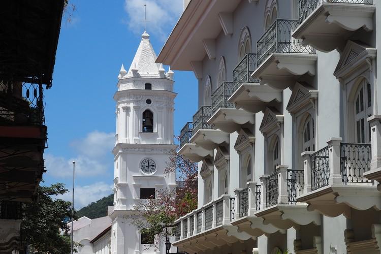 white bell tower ofPanama Metropolitan Cathedral, photos of Casco Viejo Panama City