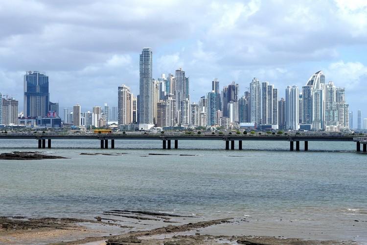 Panama City Panama city buildings and skyline with ocean