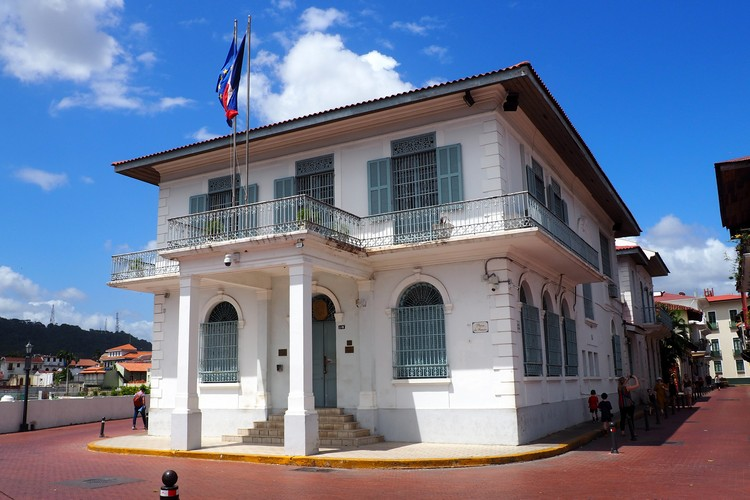 Embassy of France in Panama City old town, architecture photos of Casco Viejo