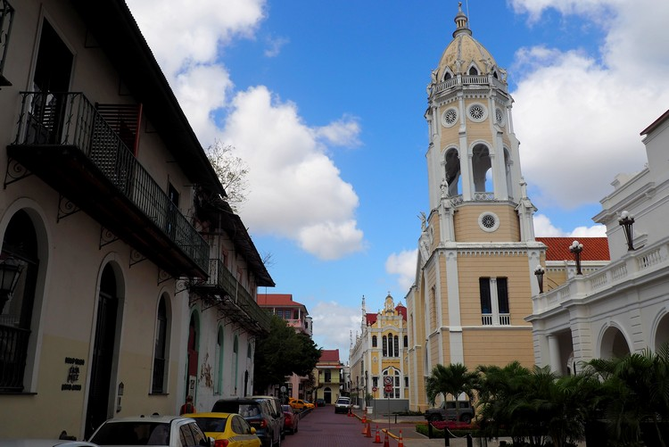 photos of Casco Viejo Panama City, bell tower church in the old town