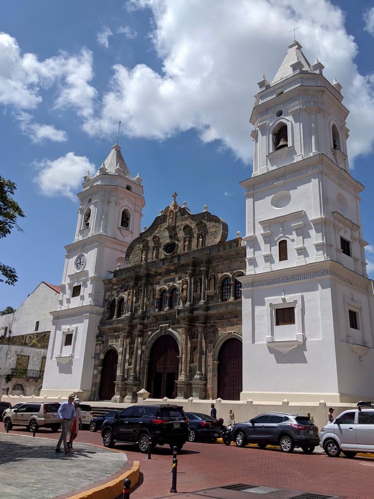 outside facade Panama Metropolitan Cathedral in Casco Viejo
