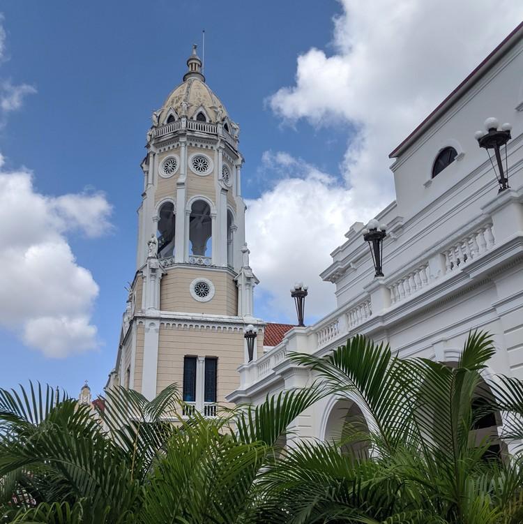 Bell tower of San Francisco de Asis Church in Plaza Bolivar, Casco Viejo Panama