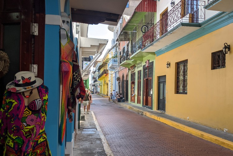streets of Casco Viejo old quarter in Panama City, Panama