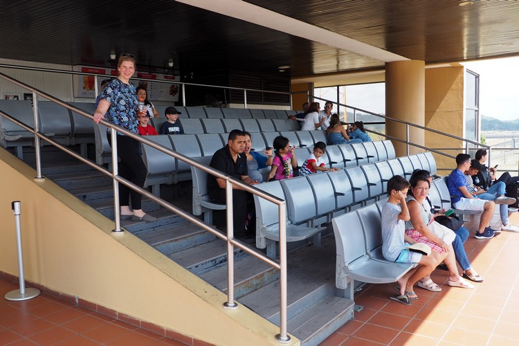 seating area at observation deck at Miraflores Locks Panama Canal in Panama City