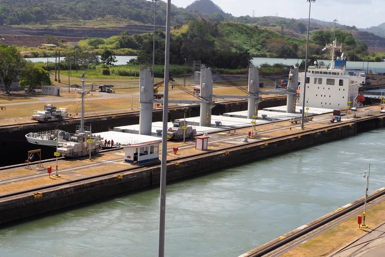 ship passing through the Panama Canal at Miraflores Locks in Panama City