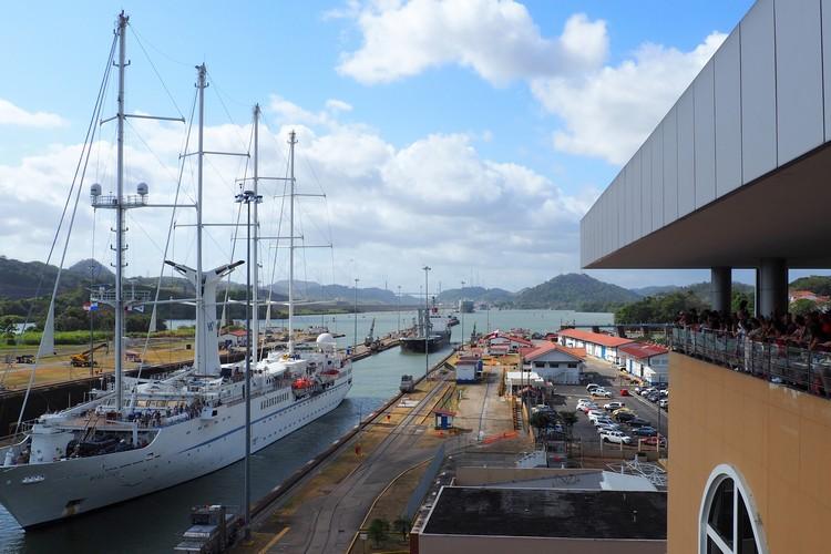 Panama Canal cruise ship passes through Miraflores Locks Panama City