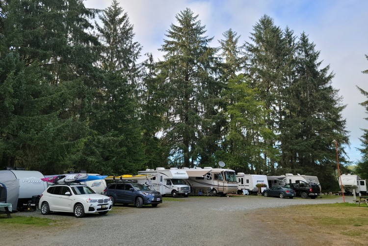 Port Hardy RV campground on Vancouver Island