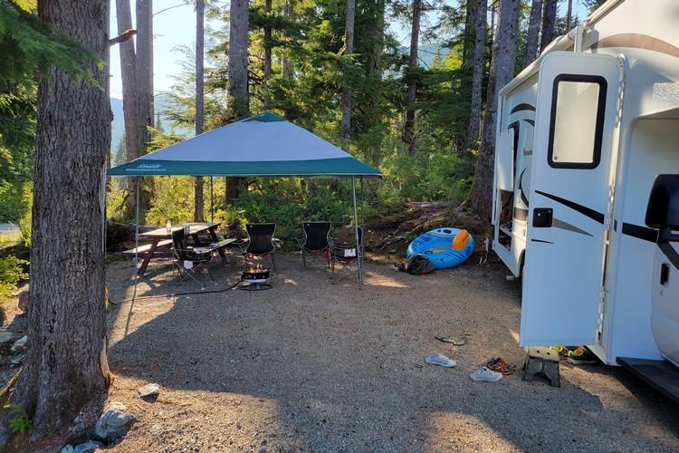 Moutcha Bay Resort RV campground spot, Nootka Sound camping Vancouver Island British Columbia